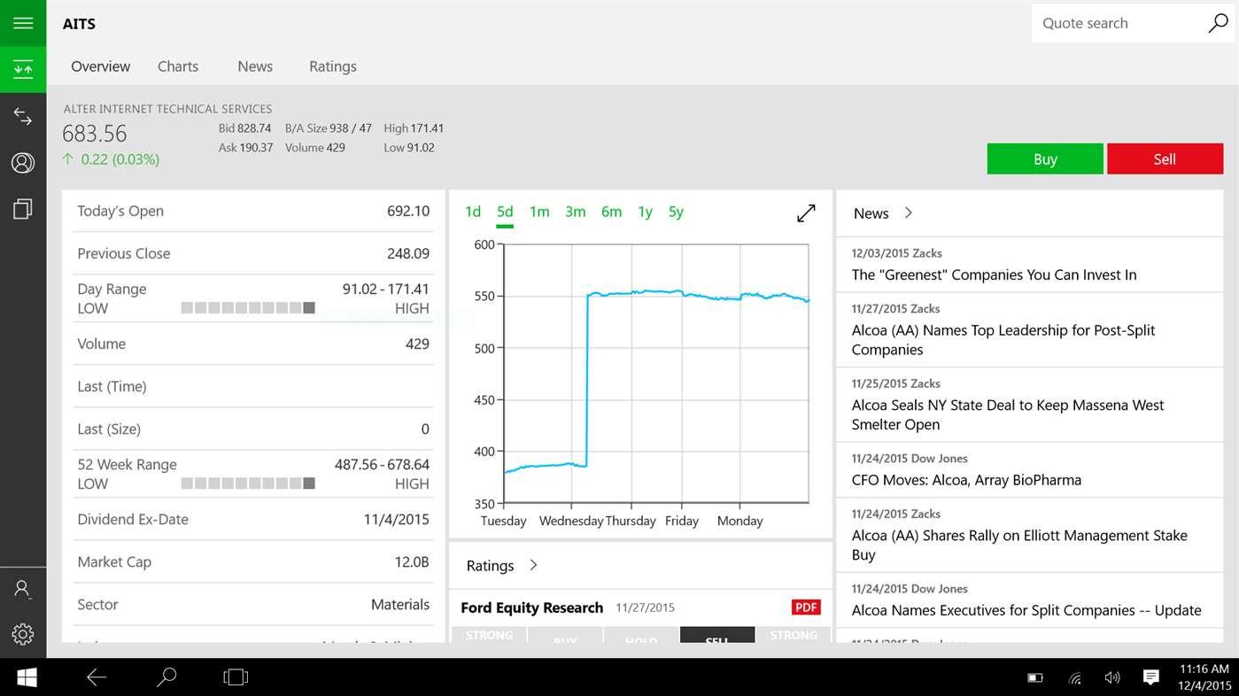 TD Ameritrade on Windows 10 Universal Windows Platform